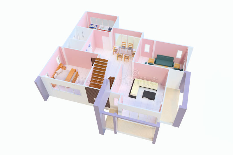 3D floor plan. Top view of a house isolated on white background vector illustration