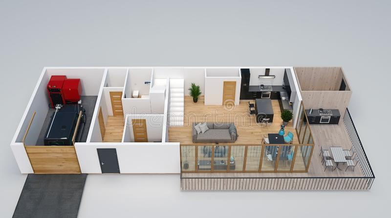3d floorplan, isometric view of the house with garage, terrace, deck, outdoor kitchen and stairs to second floor vector illustration