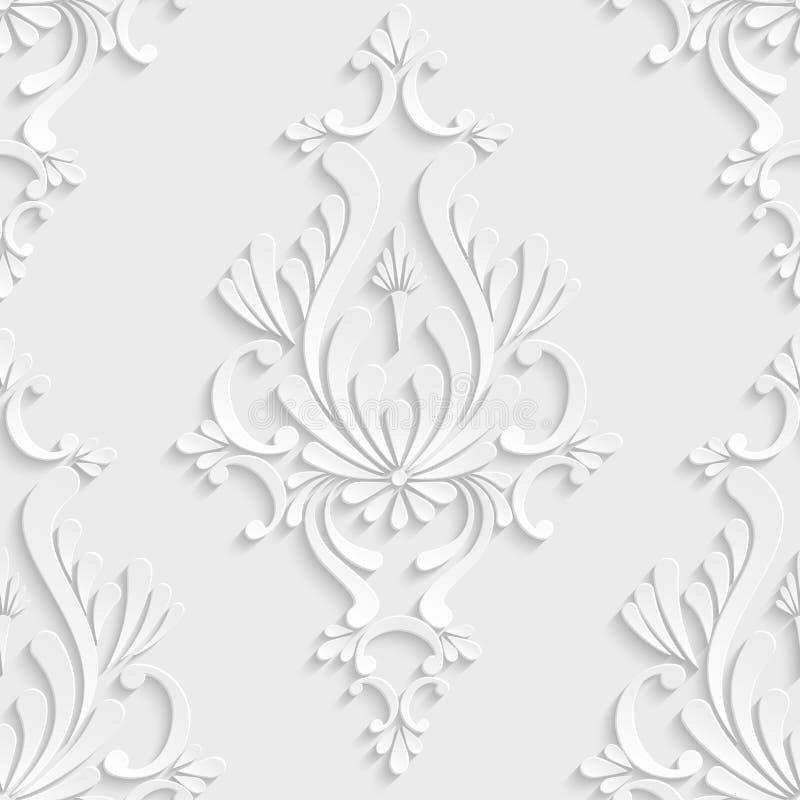 3d Floral Damask Seamless Pattern. Vector Floral Damask 3d Seamless Pattern Background. Decoration For Wallpaper or Invitation Card stock illustration