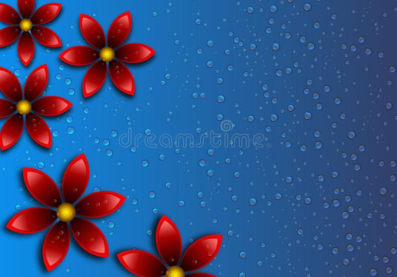 3D Floral with Water Drop background vector illustration
