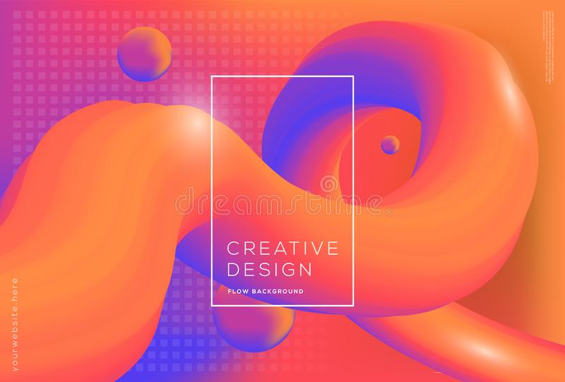 3d flow dynamic shapes composition with gradient color background. 3d flow dynamic shapes composition with gradient fluid color background vector illustration