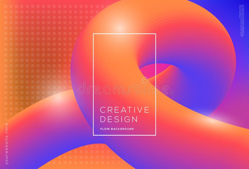 3d flow dynamic shapes composition with gradient color background. 3d flow dynamic shapes composition with gradient fluid color background stock illustration