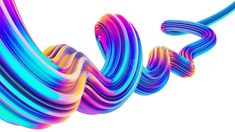 3D flow liquid shape design element in holographic neon colors for Christmas backgrounds. 3D flow liquid shape in holographic neon colors. Design element for royalty free illustration