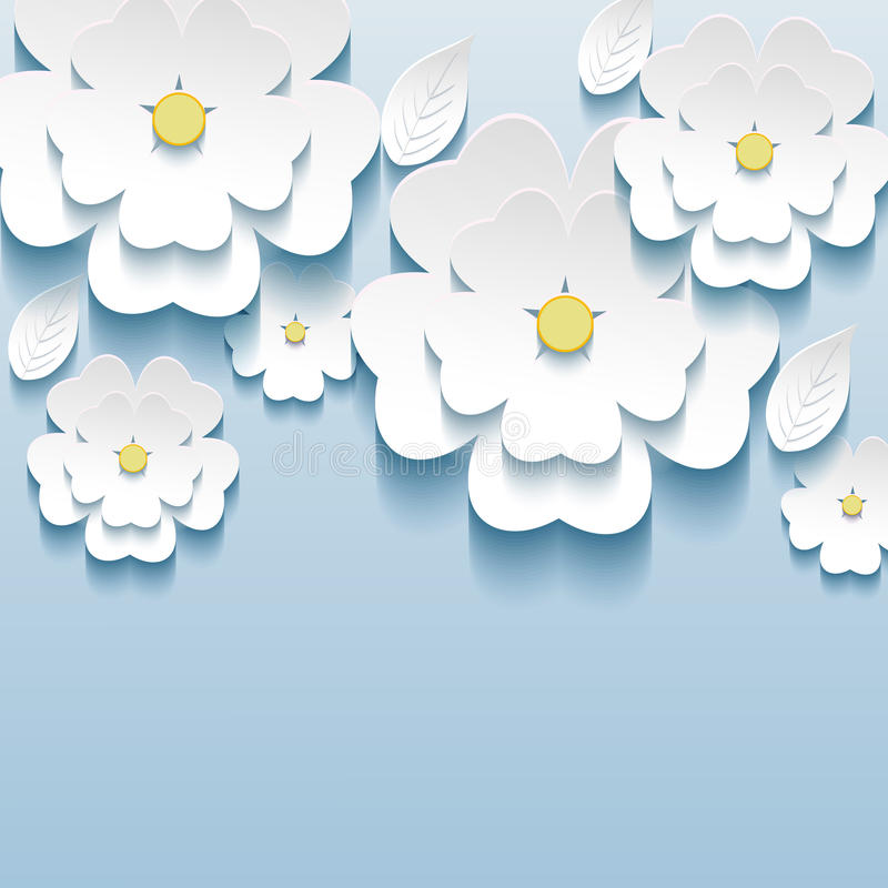 3d flowers sakura white, trendy beautiful wallpape vector illustration