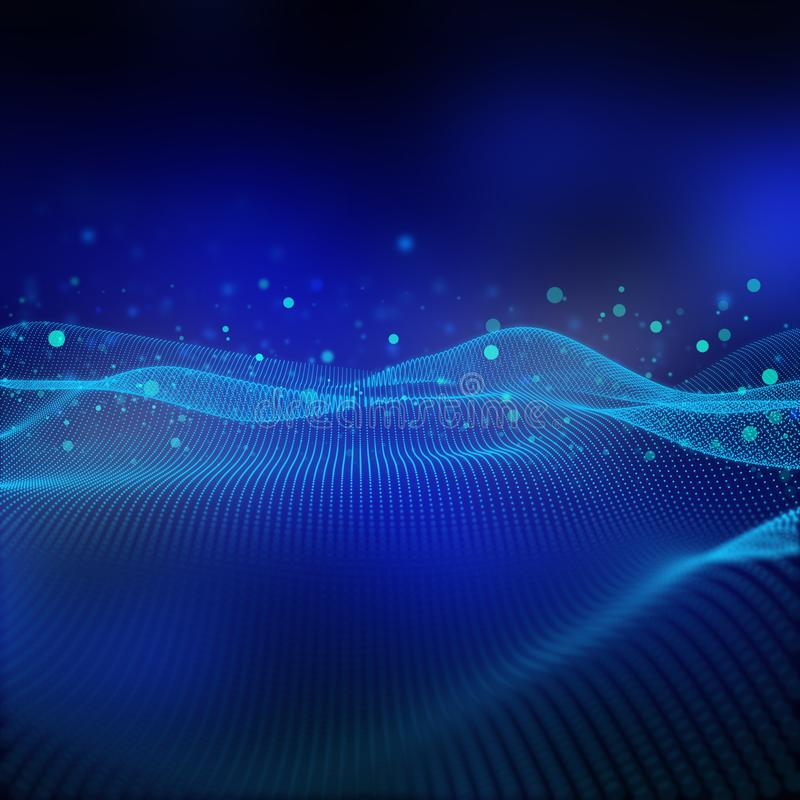 3D flowing dot landscape. Modern tech background, networking and connections stock illustration