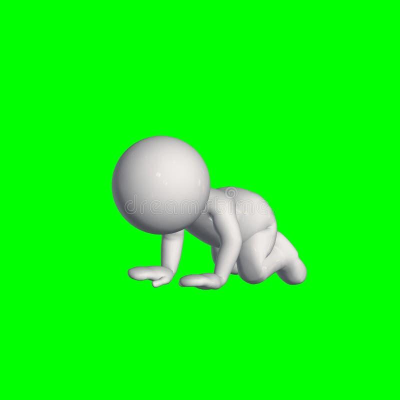 3D folk - krypande 1 - grön skärm vektor illustrationer
