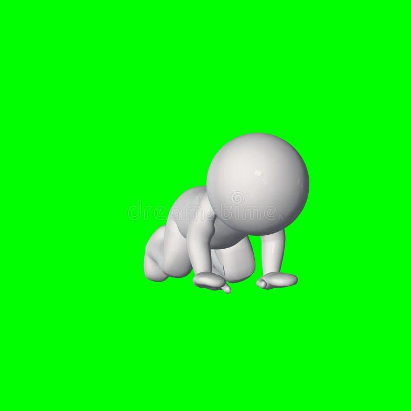 3D folk - krypande 2 - grön skärm stock illustrationer
