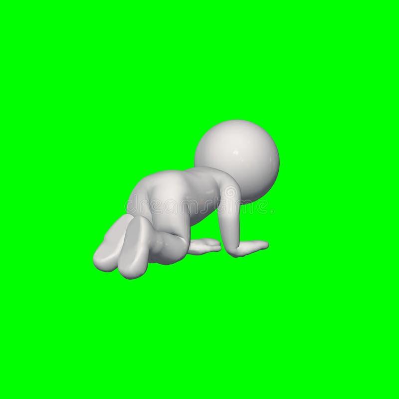 3D folk - krypande 3 - grön skärm royaltyfri illustrationer