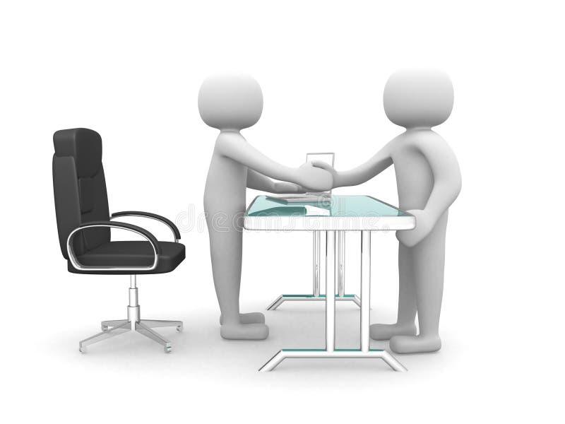 3d folk - man, personhand som skakar med en annan grabb på kontoret. royaltyfri illustrationer