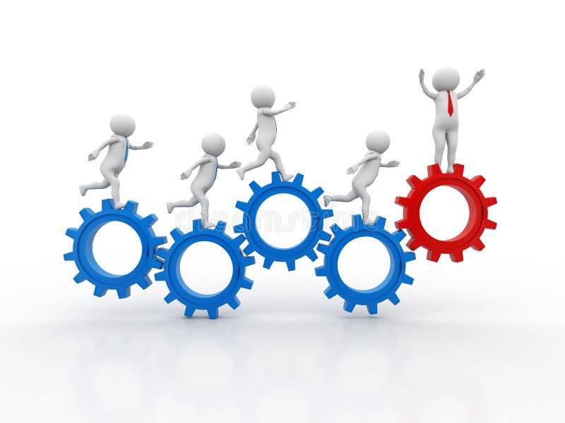 3d folk - man, personspring i kugghjulhjul Affärsman- och kugghjulmekanism, Team Work Concept vektor illustrationer