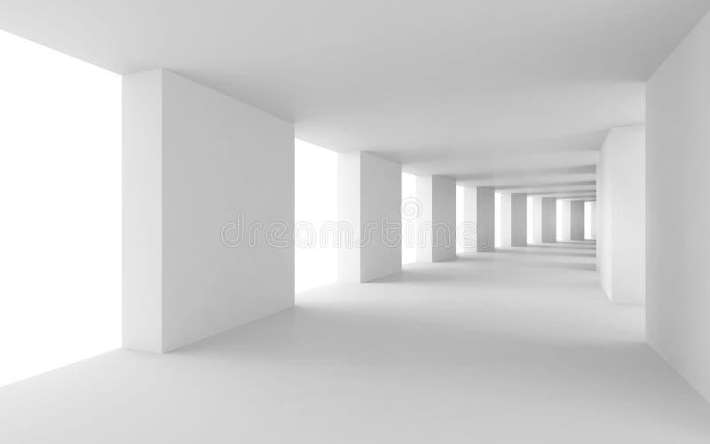3d fondo abstracto, pasillo blanco doblado stock de ilustración