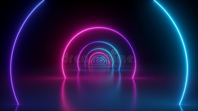 3d, fondo astratto leggero al neon, portale rotondo, anelli, cerchi, realtà virtuale, spettro ultravioletto, manifestazione del  illustrazione di stock