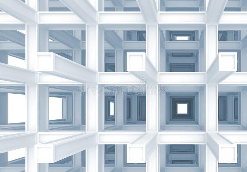 3d fondo digital abstracto, construcción azul ilustración del vector