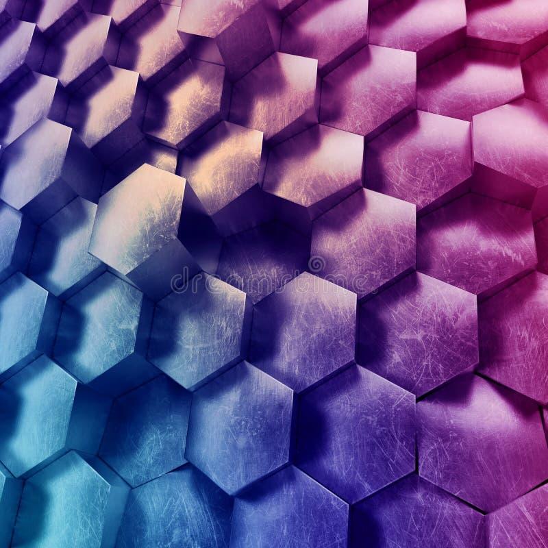 3d fondo geometrico astratto, favi esagonali metallici, carta da parati al neon porpora moderna, struttura tecnologica d'avanguar fotografia stock