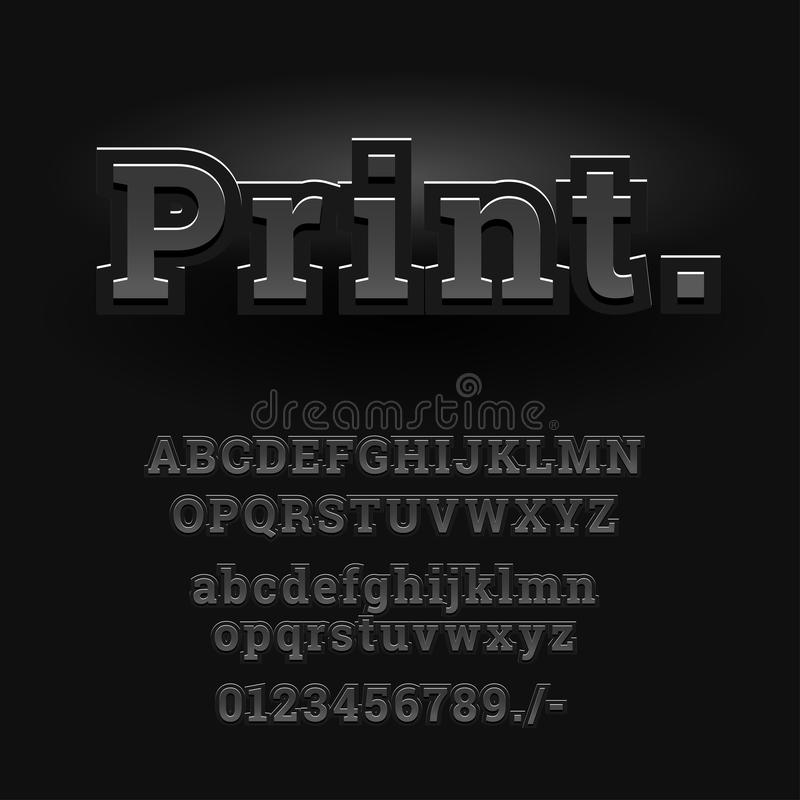 3d font alphabet. Chopped type, serif font. Letters and numbers. Vector illustration royalty free illustration