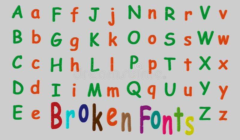 3d font in the style of a broken or cracked. Vector illustration. It`s easy to change the color. royalty free illustration