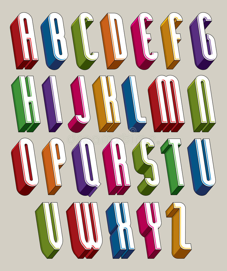 3d font, vector tall thin letters, geometric dimensional alphabet made with round shapes. vector illustration