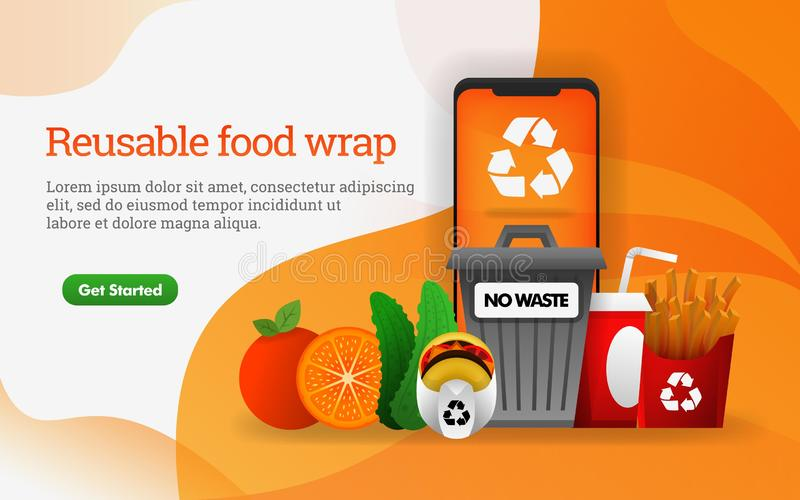3D food. junk food with theme of reduce, reuse, recycle. contains dump, fries and hamburger. can use for, landing page, template, stock illustration