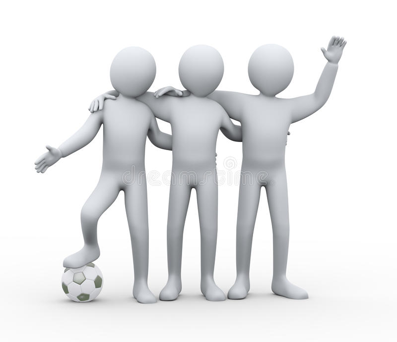 Download 3d Football Players Friendship Stock Illustration - Image: 30999053