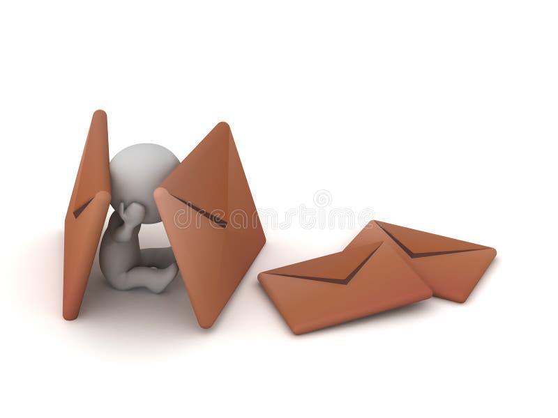 3D forçado com envelopes do correio ilustração stock