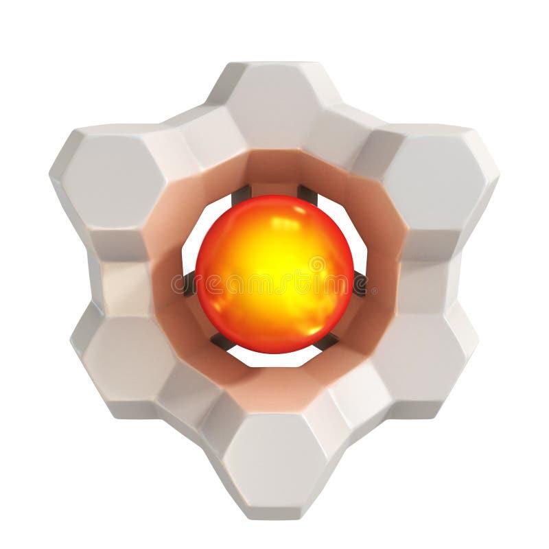 3d forma astratta - il centro rovente con le coperture geometriche illustrazione vettoriale