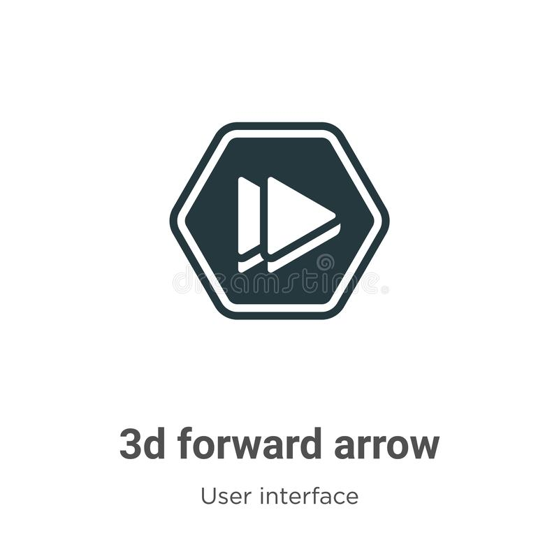 3d forward arrow vector icon on white background. Flat vector 3d forward arrow icon symbol sign from modern user interface royalty free illustration