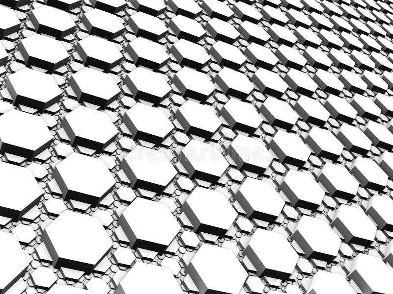 3D Fractal - oppervlakte van regelmatige kleine en grote zeshoeken wordt gemaakt die royalty-vrije illustratie