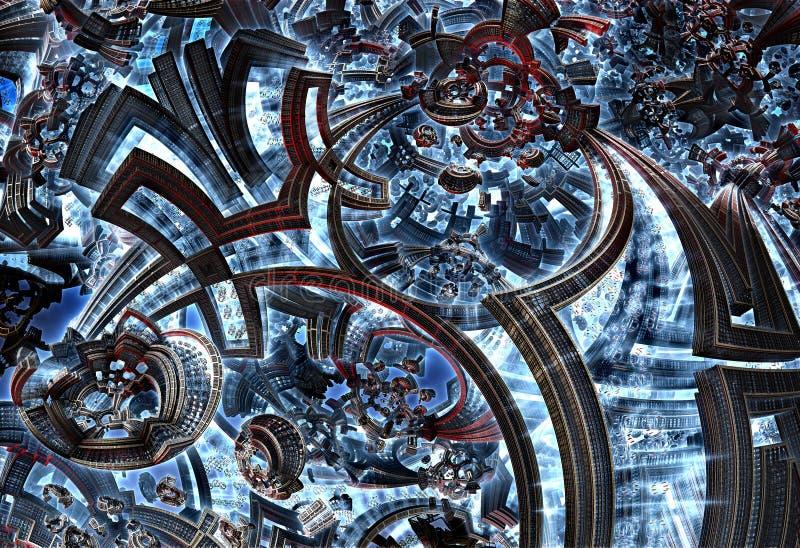 3d fractal przyszłościowy miasto Rozwój cywilizacja w galaxy ilustracja wektor