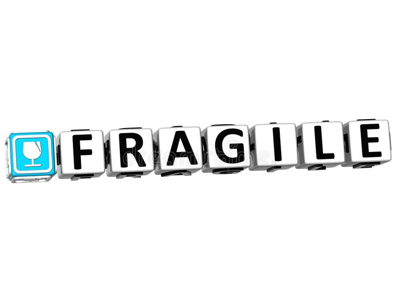 3D Fragile Button Click Here Block Text vector illustration