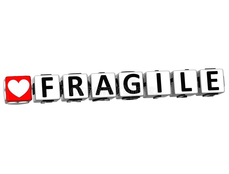 3D Fragile Button Click Here Block Text stock illustration