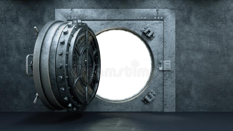 3d framför öppningen av valvdörren i banken stock illustrationer