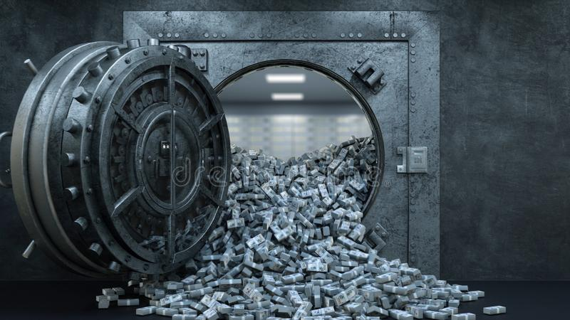 3d framför öppningen av valvdörren i banken med mycket pengar royaltyfri illustrationer