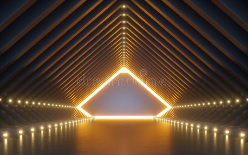 3d framför, abstrakt bakgrund, korridoren, tunnelen, virtuell verklighetutrymme, gula neonljus, modepodiet, klubbainre som är tom stock illustrationer