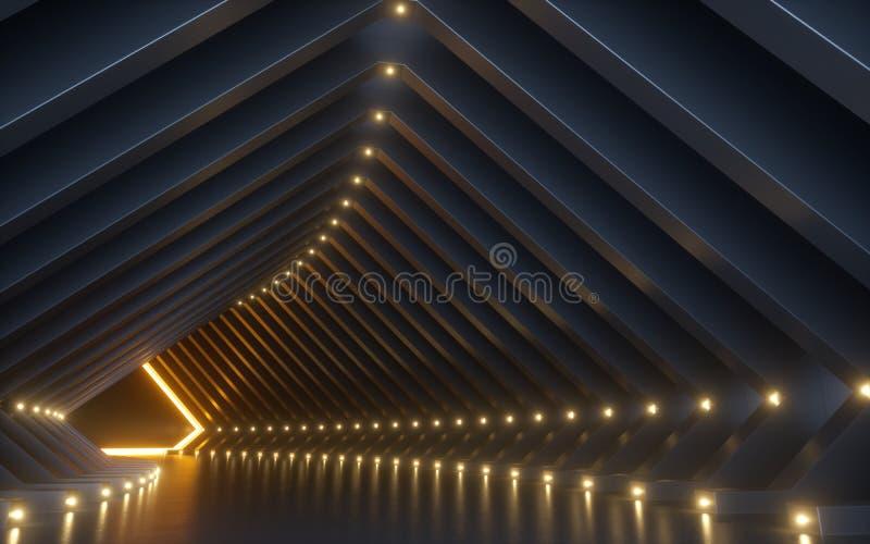 3d framför, abstrakt bakgrund, korridoren, tunnelen, virtuell verklighetutrymme, gula neonljus, modepodiet, klubbainre som är tom arkivbilder