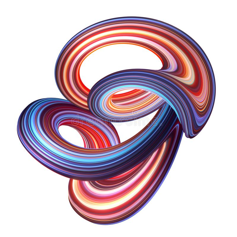 3d framför, abstrakt bakgrund, modern krökt form, öglan, deformering, färgrika linjer, neonljus, rött blått förvridet objekt vektor illustrationer