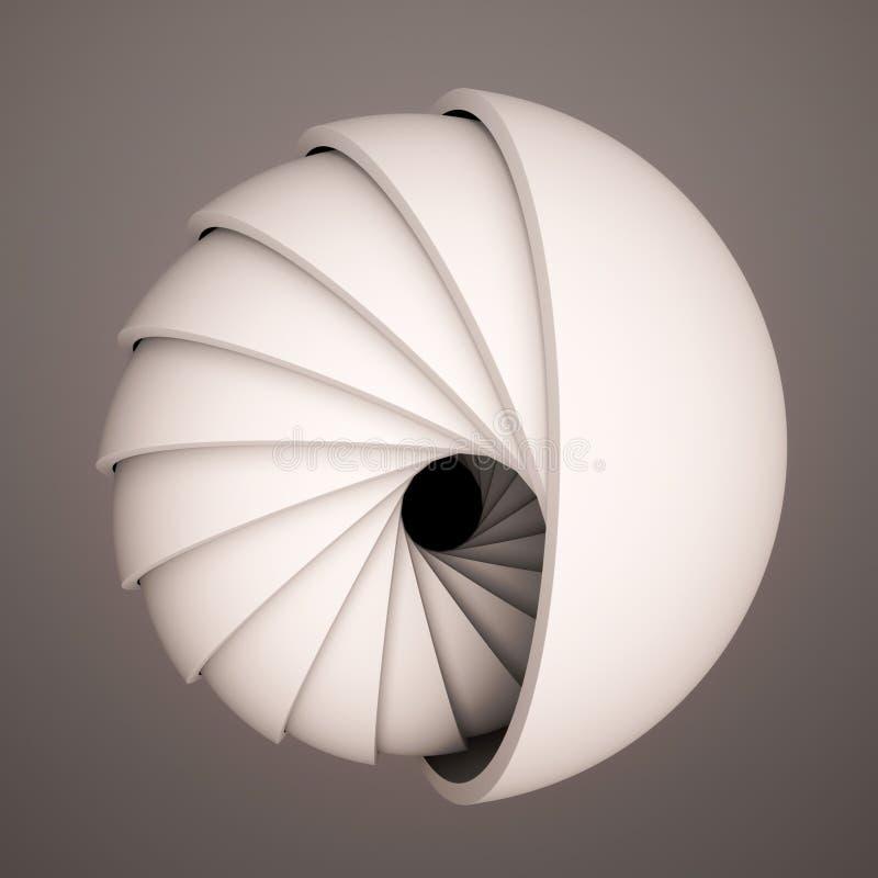 3D framför abstrakt bakgrund Svartvita former i rörelse Halvklotet kretsar i en spiral Dator frambragd digital konst fo vektor illustrationer