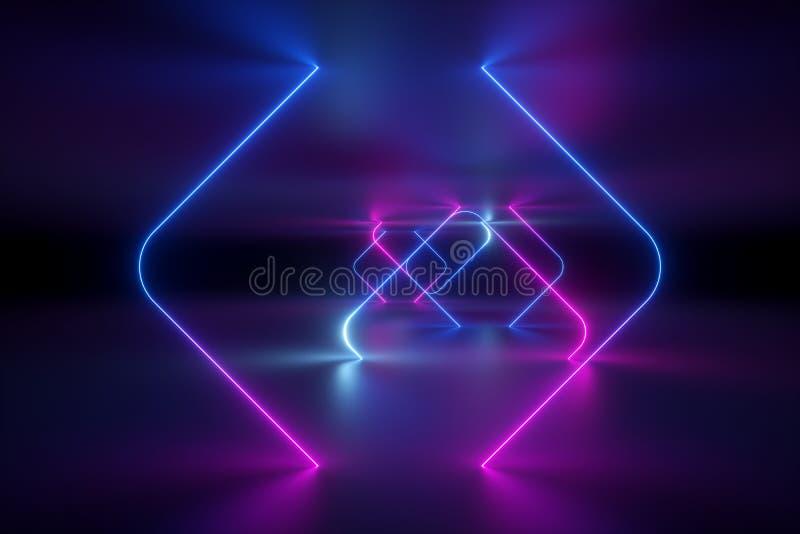 3d framför, abstrakt bakgrund, ultraviolett neonljus, virtuell verklighet, glödande linjer, tunnelen, rosa blåa vibrerande färger royaltyfri foto