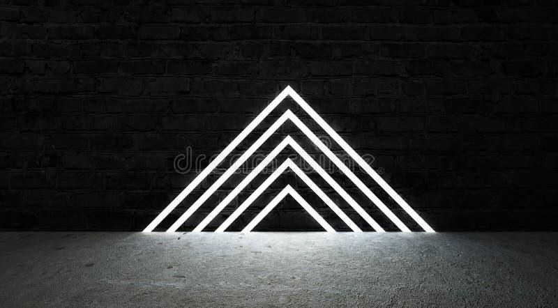 3d framför, abstrakt modebakgrund, den triangulära portalen för blått rosa neon, glödande linjer stock illustrationer