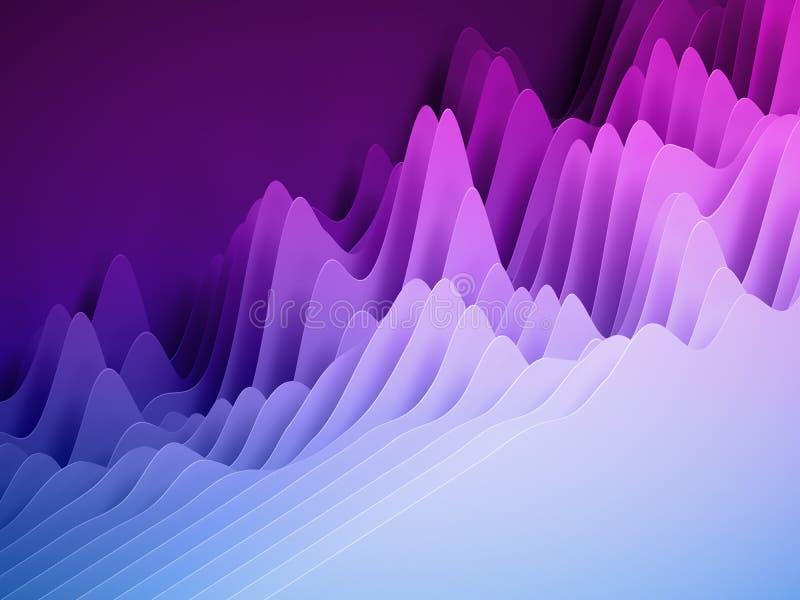 3d framför, abstrakt papper formar bakgrund, ljusa färgrika skivade lager, purpurfärgade vågor, kullar, utjämnare royaltyfri fotografi