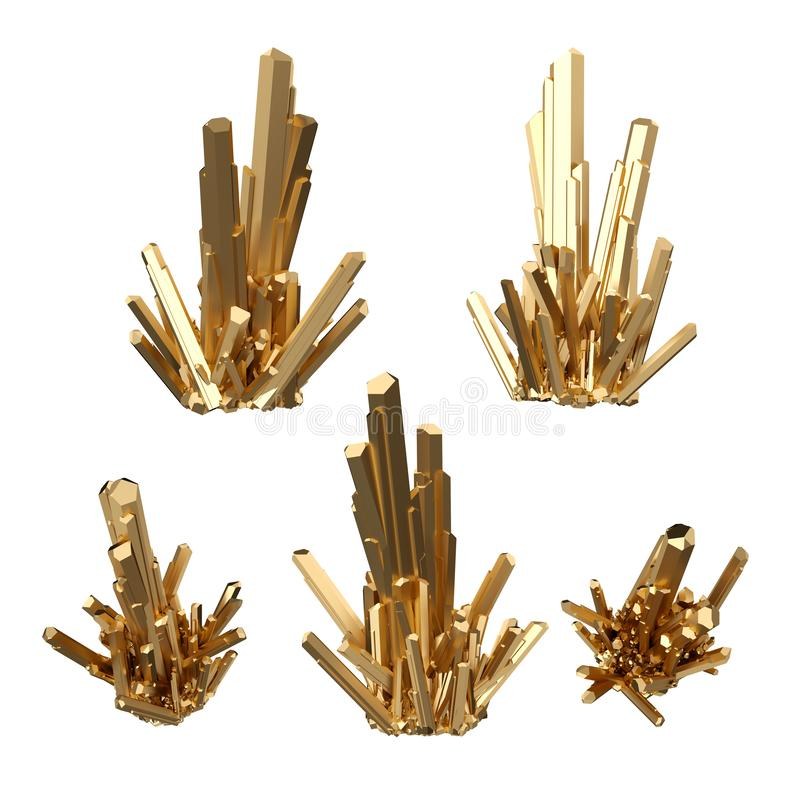 3d framför, abstrakta guld- kristaller, perspektivsikten, den guld- klumpen, den esoteriska designbeståndsdelen, gemkonst som iso stock illustrationer