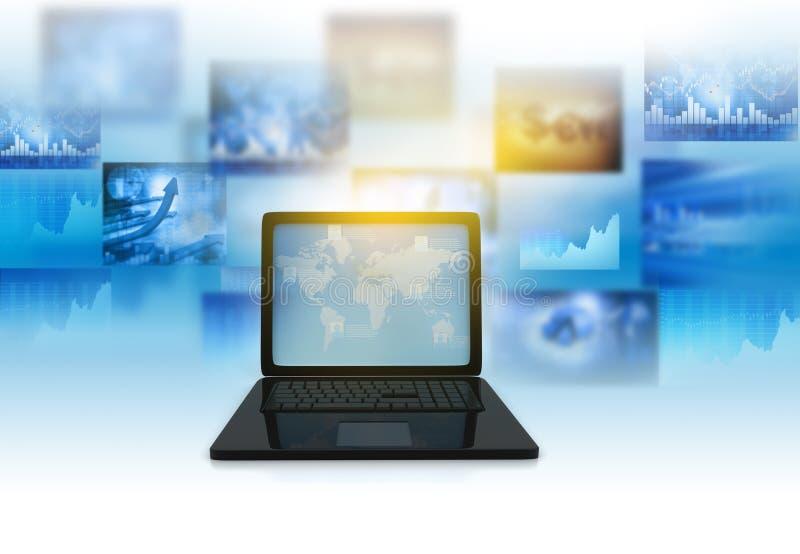 3d framför av bärbara datorn med affärsgrafen royaltyfri illustrationer