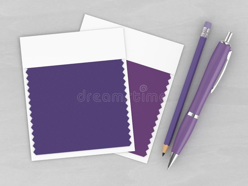 3d framför av bästa sikt av brevpapper- och textilfärgprovkartor stock illustrationer