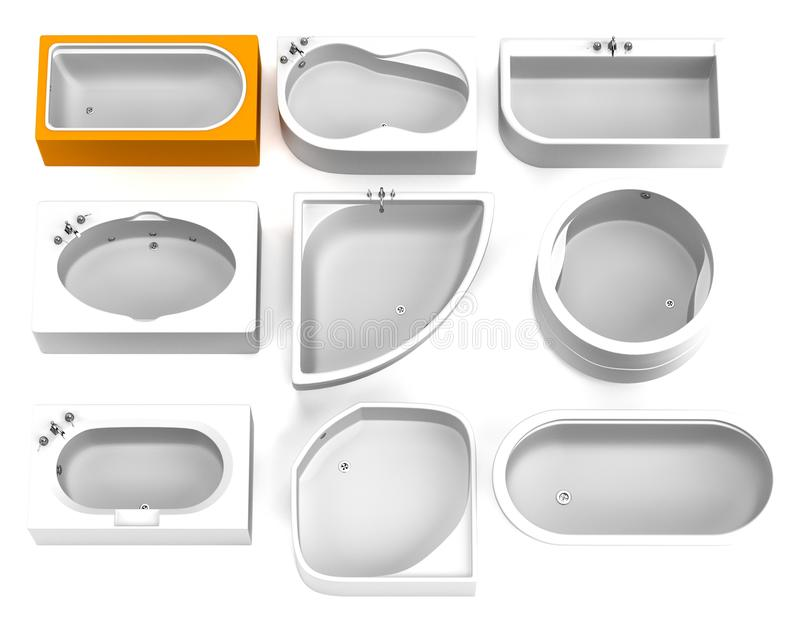 3d framför av bad badar stock illustrationer
