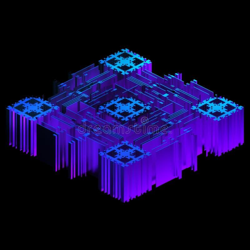 3d framför av blått geometriskt dataobjekt vektor illustrationer