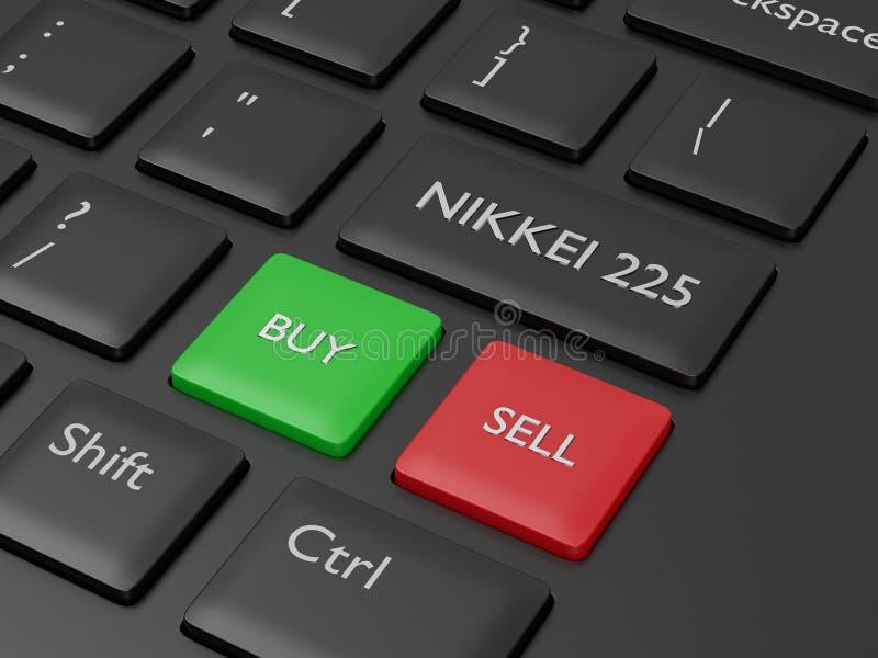 3d framför av datortangentbordet med den NIKKEI 225 indexknappen stock illustrationer