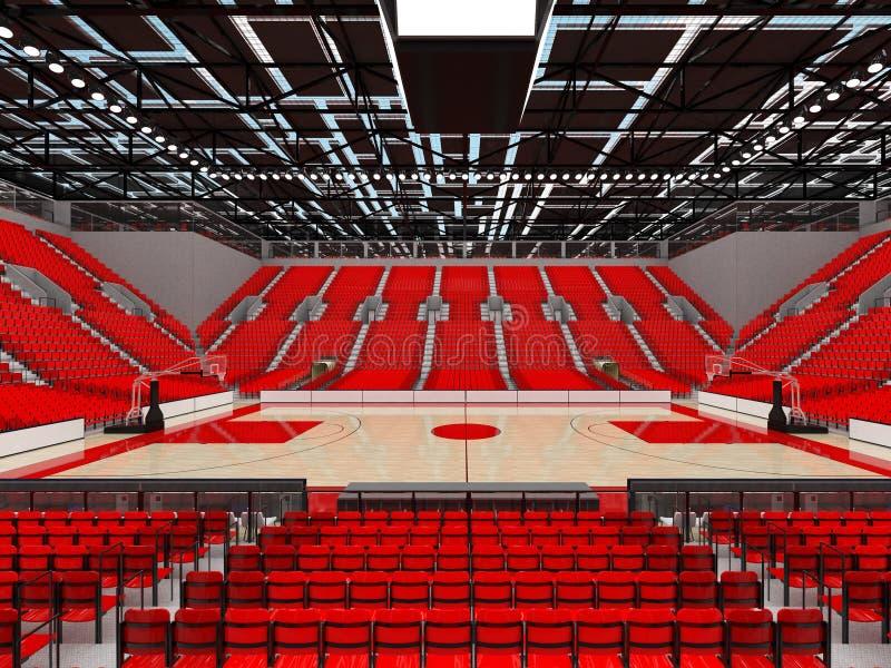 3D framför av den härliga sportarenan för basket med röda platser stock illustrationer