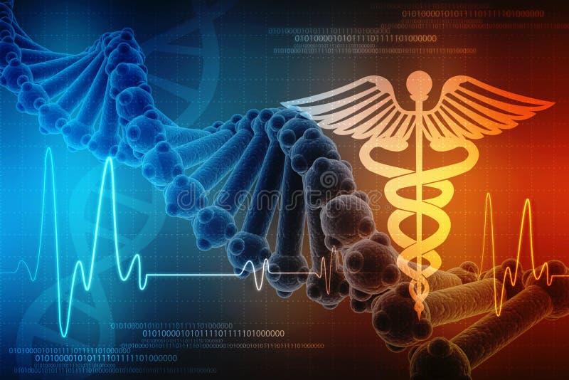 3d framför av Dna-strukturen i medicinsk teknologibakgrund, begrepp av biokemi med DNA royaltyfri illustrationer