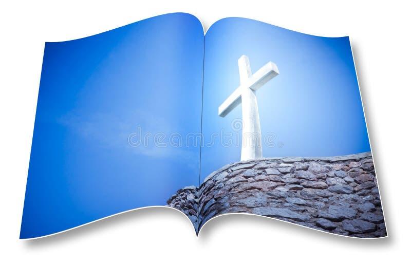 3D framför av en öppnad photobook med det kristna korset - jag är copyright-ägaren av bilderna som används i denna 3D, framför arkivbild