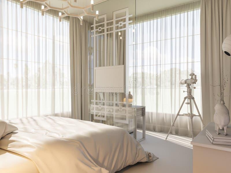 3d framför av en inredesign av ett sovrum royaltyfri illustrationer