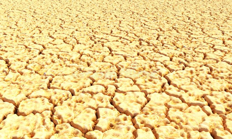 3d framför av en jordskiva, öknen med kakturs, sand, dyn som isoleras på vit stock illustrationer